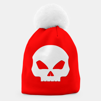 Miniatur Large White Hollow Eyed Halloween Death Skull on Blood Red Beanie, Live Heroes