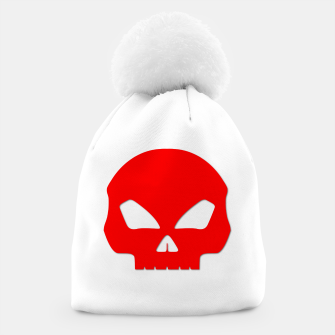 Miniatur Large Blood Red Hollow Eyed Halloween Death Skull on White Beanie, Live Heroes