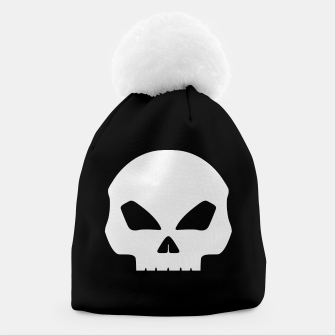 Miniatur Large White Hollow Eyed Halloween Death Skull on Black Beanie, Live Heroes