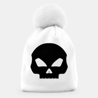 Miniatur Large Black Hollow Eyed Halloween Death Skull on White Beanie, Live Heroes