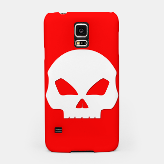 Miniatur Large White Hollow Eyed Halloween Death Skull on Blood Red Samsung Case, Live Heroes