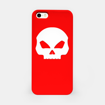 Miniatur Large White Hollow Eyed Halloween Death Skull on Blood Red iPhone Case, Live Heroes