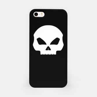 Miniatur Large White Hollow Eyed Halloween Death Skull on Black iPhone Case, Live Heroes