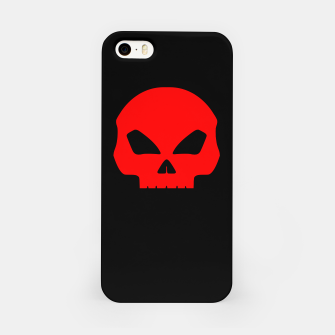Miniatur Large Blood Red Hollow Eyed Halloween Death Skull on Black iPhone Case, Live Heroes