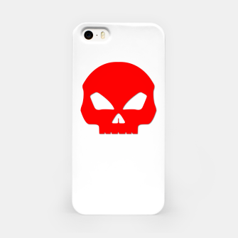 Miniatur Large Blood Red Hollow Eyed Halloween Death Skull on White iPhone Case, Live Heroes