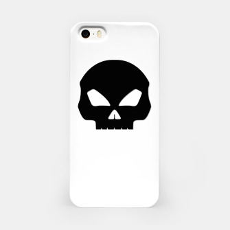 Miniatur Large Black Hollow Eyed Halloween Death Skull on White iPhone Case, Live Heroes