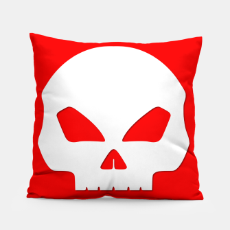 Miniatur Large White Hollow Eyed Halloween Death Skull on Blood Red Pillow, Live Heroes