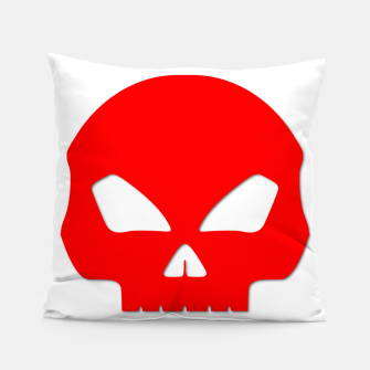 Miniatur Large Blood Red Hollow Eyed Halloween Death Skull on White Pillow, Live Heroes