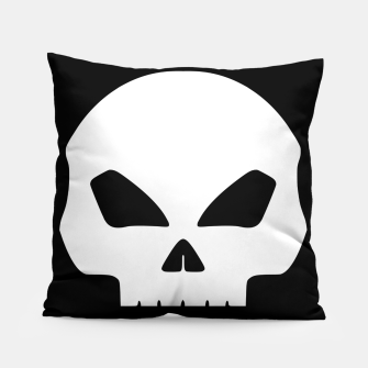 Miniatur Large White Hollow Eyed Halloween Death Skull on Black Pillow, Live Heroes