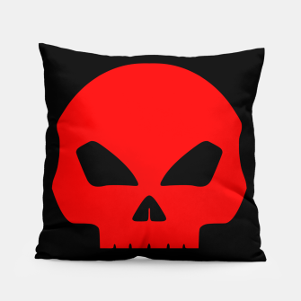 Miniatur Large Blood Red Hollow Eyed Halloween Death Skull on Black Pillow, Live Heroes