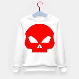 Miniatur Large Blood Red Hollow Eyed Halloween Death Skull on White Kid's sweater, Live Heroes