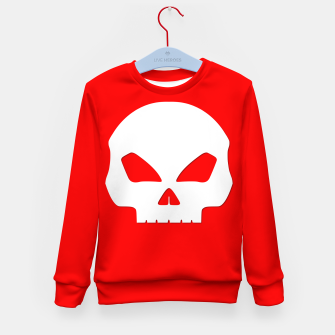 Miniatur Large White Hollow Eyed Halloween Death Skull on Blood Red Kid's sweater, Live Heroes