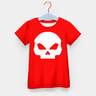 Miniatur Large White Hollow Eyed Halloween Death Skull on Blood Red Kid's t-shirt, Live Heroes