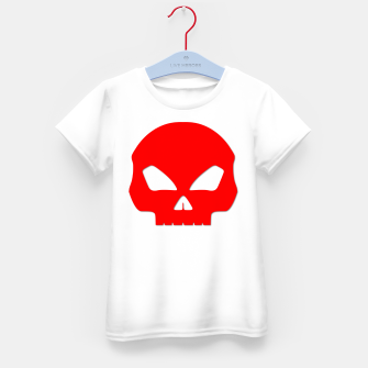 Miniatur Large Blood Red Hollow Eyed Halloween Death Skull on White Kid's t-shirt, Live Heroes