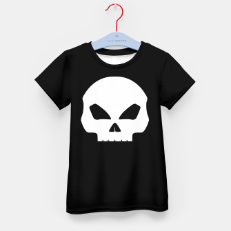 Miniature de image de Large White Hollow Eyed Halloween Death Skull on Black Kid's t-shirt, Live Heroes