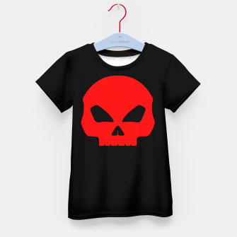 Miniature de image de Large Blood Red Hollow Eyed Halloween Death Skull on Black Kid's t-shirt, Live Heroes