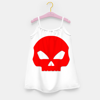 Miniature de image de Large Blood Red Hollow Eyed Halloween Death Skull on White Girl's dress, Live Heroes