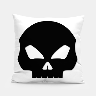 Miniature de image de Large Black Hollow Eyed Halloween Death Skull on White Pillow, Live Heroes