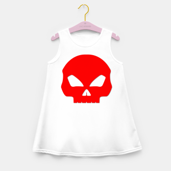Miniature de image de Large Blood Red Hollow Eyed Halloween Death Skull on White Girl's summer dress, Live Heroes