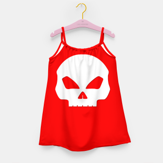 Miniature de image de Large White Hollow Eyed Halloween Death Skull on Blood Red Girl's dress, Live Heroes