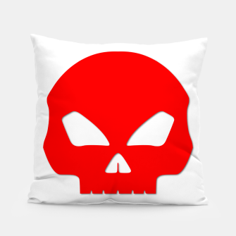 Miniature de image de Large Blood Red Hollow Eyed Halloween Death Skull on White Pillow, Live Heroes