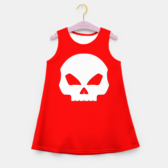 Miniature de image de Large White Hollow Eyed Halloween Death Skull on Blood Red Girl's summer dress, Live Heroes