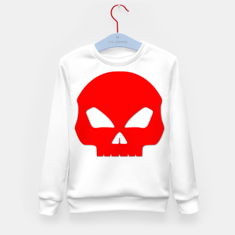 Miniature de image de Large Blood Red Hollow Eyed Halloween Death Skull on White Kid's sweater, Live Heroes