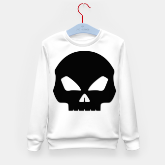 Miniature de image de Large Black Hollow Eyed Halloween Death Skull on White Kid's sweater, Live Heroes