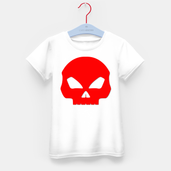 Miniature de image de Large Blood Red Hollow Eyed Halloween Death Skull on White Kid's t-shirt, Live Heroes