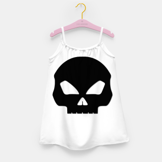 Miniature de image de Large Black Hollow Eyed Halloween Death Skull on White Girl's dress, Live Heroes