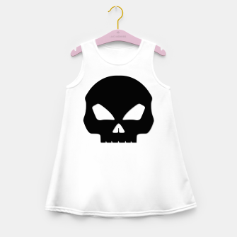 Miniature de image de Large Black Hollow Eyed Halloween Death Skull on White Girl's summer dress, Live Heroes