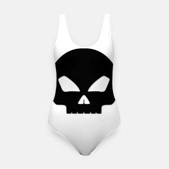 Miniature de image de Large Black Hollow Eyed Halloween Death Skull on White Swimsuit, Live Heroes