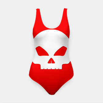 Miniature de image de Large White Hollow Eyed Halloween Death Skull on Blood Red Swimsuit, Live Heroes