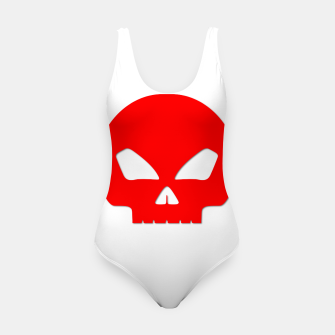 Miniature de image de Large Blood Red Hollow Eyed Halloween Death Skull on White Swimsuit, Live Heroes