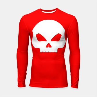 Miniature de image de Large White Hollow Eyed Halloween Death Skull on Blood Red Longsleeve rashguard , Live Heroes
