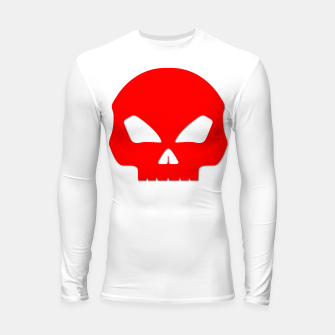 Miniature de image de Large Blood Red Hollow Eyed Halloween Death Skull on White Longsleeve rashguard , Live Heroes
