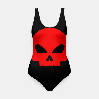 Miniature de image de Large Blood Red Hollow Eyed Halloween Death Skull on Black Swimsuit, Live Heroes