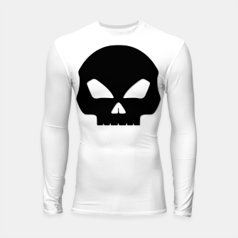 Miniature de image de Large Black Hollow Eyed Halloween Death Skull on White Longsleeve rashguard , Live Heroes