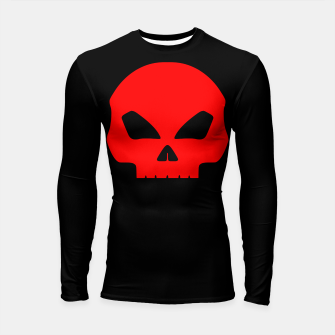 Miniature de image de Large Blood Red Hollow Eyed Halloween Death Skull on Black Longsleeve rashguard , Live Heroes