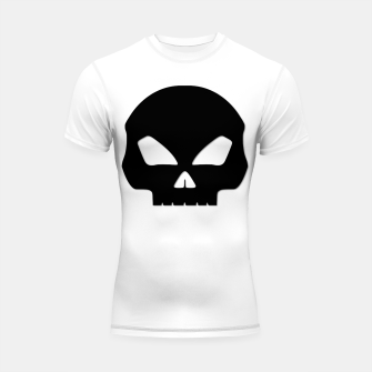 Miniature de image de Large Black Hollow Eyed Halloween Death Skull on White Shortsleeve rashguard, Live Heroes