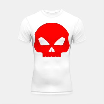 Miniature de image de Large Blood Red Hollow Eyed Halloween Death Skull on White Shortsleeve rashguard, Live Heroes