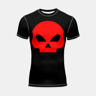 Miniature de image de Large Blood Red Hollow Eyed Halloween Death Skull on Black Shortsleeve rashguard, Live Heroes