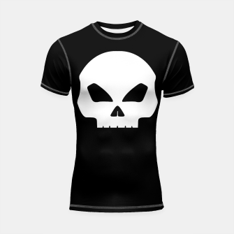 Miniature de image de Large White Hollow Eyed Halloween Death Skull on Black Shortsleeve rashguard, Live Heroes