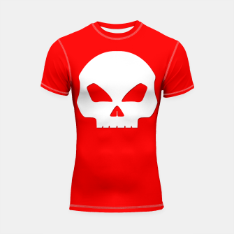 Miniature de image de Large White Hollow Eyed Halloween Death Skull on Blood Red Shortsleeve rashguard, Live Heroes