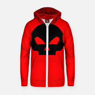 Miniature de image de Large Black Hollow Eyed Halloween Death Skull on Blood Red Cotton zip up hoodie, Live Heroes