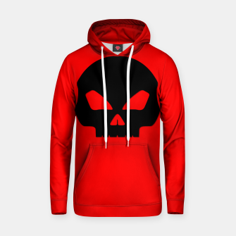 Miniature de image de Large Black Hollow Eyed Halloween Death Skull on Blood Red Cotton hoodie, Live Heroes