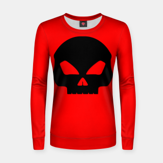 Miniature de image de Large Black Hollow Eyed Halloween Death Skull on Blood Red Woman cotton sweater, Live Heroes