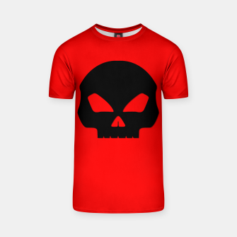 Miniature de image de Large Black Hollow Eyed Halloween Death Skull on Blood Red T-shirt, Live Heroes