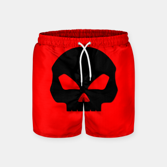 Miniature de image de Large Black Hollow Eyed Halloween Death Skull on Blood Red Swim Shorts, Live Heroes