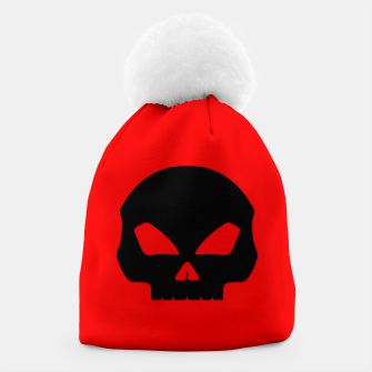 Miniature de image de Large Black Hollow Eyed Halloween Death Skull on Blood Red Beanie, Live Heroes